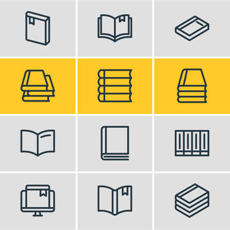 illustration of 12 book icons line style. Editable set of book collection, schoolbook, bookmark and other icon elements. Фото со стока