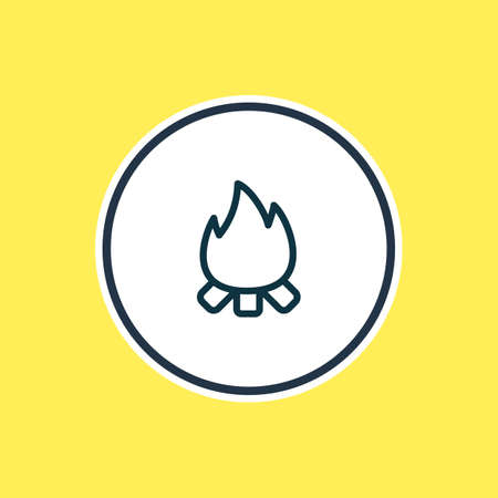 Vector illustration of flame icon line. Beautiful tourism element also can be used as campfire icon element.