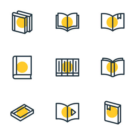 illustration of 9 education icons line style. Editable set of dictionary, learn, literature and other icon elements. Stock Photo