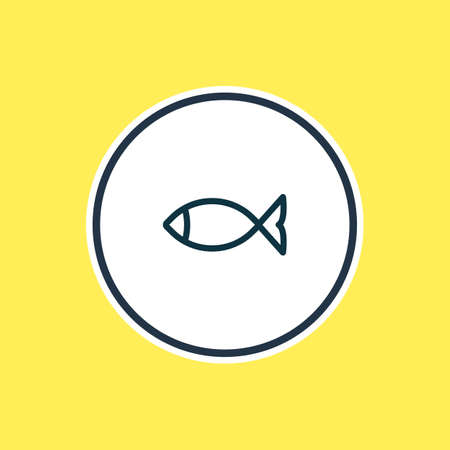 Vector illustration of fish icon line. Beautiful camping element also can be used as seafood icon element.
