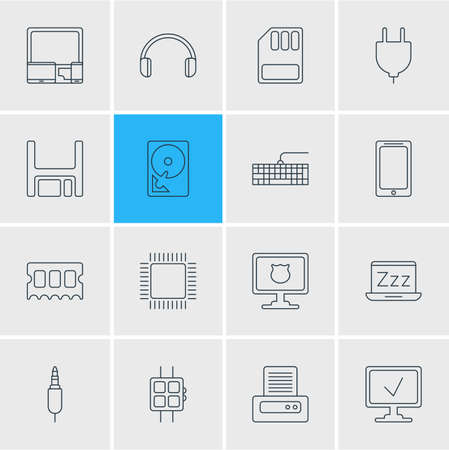 Vector illustration of 16 computer icons line style. Editable set of plug, ram, input buttons and other icon elements.