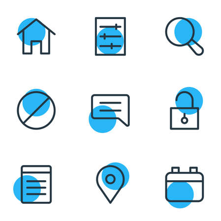 Vector illustration of 9 annex icons line style. Editable set of setting, location, home and other icon elements.