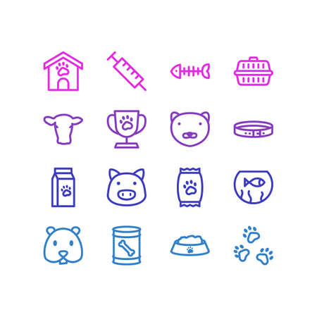 Vector illustration of 16 pet icons line style. Editable set of kibble, pet cup, nutrition and other icon elements.
