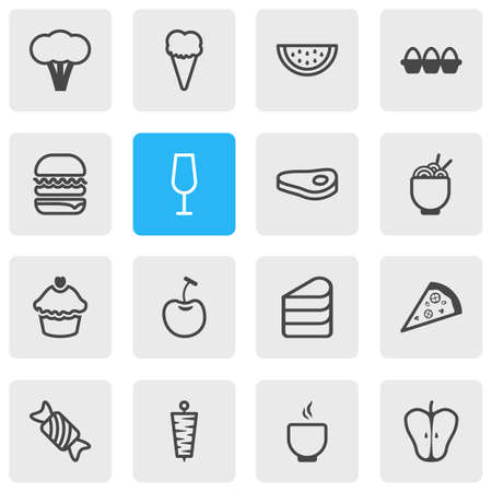 Vector illustration of 16 meal icons line style. Editable set of cupcake, raw meat, pizzeria and other icon elements.