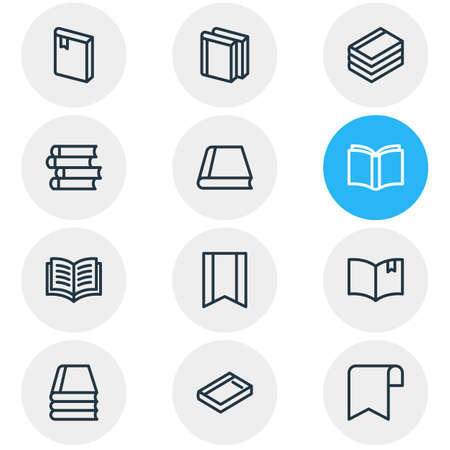 illustration of 12 education icons line style. Editable set of ribbon, book reading, bookmark and other icon elements.