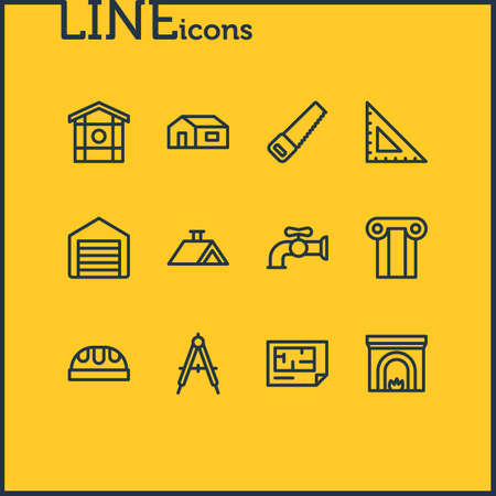 illustration of 12 construction icons line style. Editable set of roof, saw, column and other icon elements. Stock Illustration - 106536447