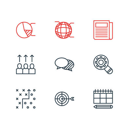 Vector illustration of 9 marketing icons line style. Editable set of planning, strategy, pie chart and other icon elements.