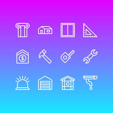 Vector illustration of 12 industry icons line style. Editable set of sell house, gutter, window and other icon elements. Vektorgrafik