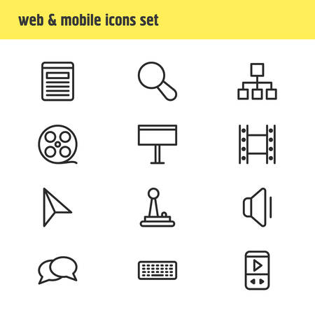 Vector illustration of 12 music icons line style. Editable set of billboard, player, movie and other icon elements.