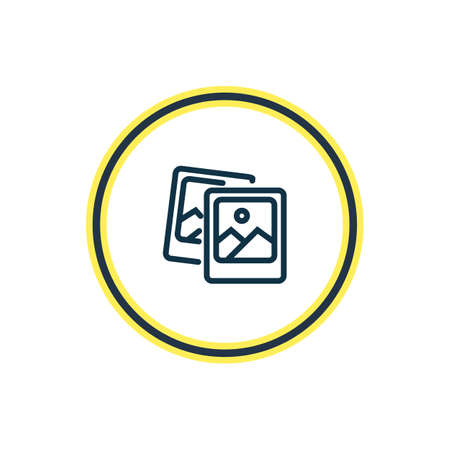 Vector illustration of polaroid pics icon line. Beautiful celebration element also can be used as image icon element.  イラスト・ベクター素材