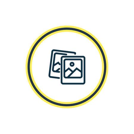 Ilustracja wektorowa linii ikony zdjęć polaroid. Piękny element uroczystości może być również używany jako element ikony obrazu.