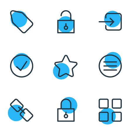 illustration of 9 annex icons line style. Editable set of enter, check, thumbnails and other icon elements.