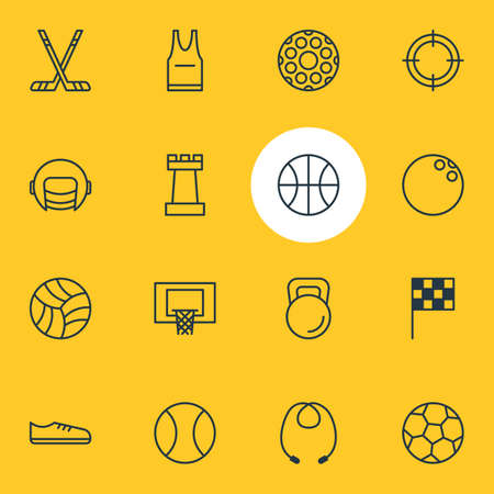 illustration of 16 athletic icons line style. Editable set of bowling, sticks, chess figure and other icon elements.