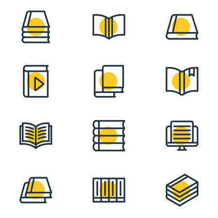 illustration of 12 book reading icons line style. Editable set of schoolbook, knowledge, study and other icon elements. Stock Photo