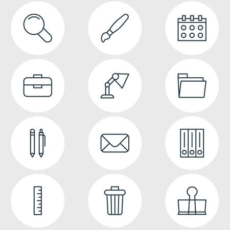 illustration of 12 instruments icons line style. Editable set of pen, library, envelope and other icon elements. 版權商用圖片