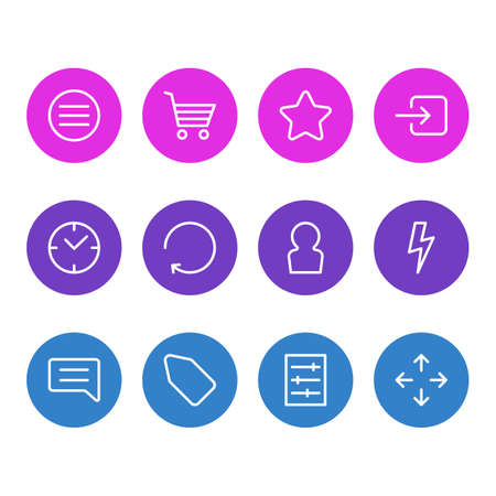 illustration of 12 app icons line style. Editable set of enter, buying cart, menu and other icon elements.