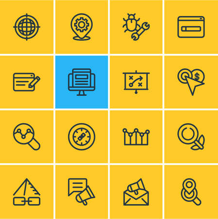 Vector illustration of 16 advertising icons line style. Editable set of adwords campaign, traffic analyze, geo targeting and other icon elements.