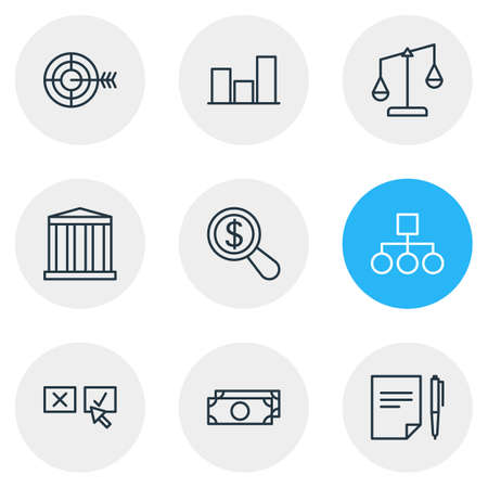 Vector illustration of 9 trade icons line style. Editable set of bar, structure, bank and other icon elements.