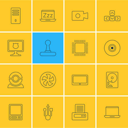 Vector illustration of 16 computer icons line style. Editable set of printout, joystick, protected PC and other icon elements.