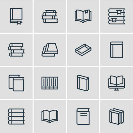 illustration of 16 book icons line style. Editable set of publishing, lecture, literature and other icon elements.