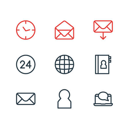 Vector illustration of 9 community icons line style. Editable set of phone book, message, envelope and other icon elements.