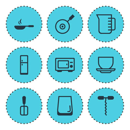 Vector illustration of 9 cooking icons. Editable set of microwave, spatula, water glass and other icon elements.