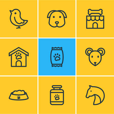 Vector illustration of 9 pet icons line style. Editable set of pet medicine, dog, pet shop and other icon elements. Illustration