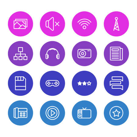 Vector illustration of 16 music icons line style. Editable set of wifi, game controller, image and other icon elements.