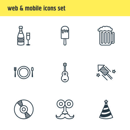 Vector illustration of 9 party icons line style. Editable set of ice cream, guitar, party hat and other icon elements.