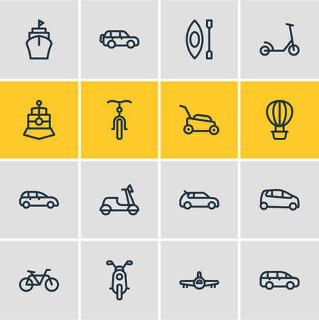 Vector illustration of 16 transit icons line style. Editable set of kick scooter, mpv, air balloon and other icon elements.