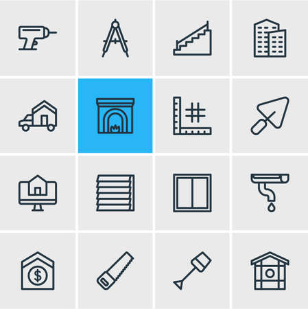 Vektor-Illustration von 16 Industriesymbolen Linienstil. Bearbeitbarer Satz von Kompass, Bewegung, Rinne und anderen Symbolelementen.