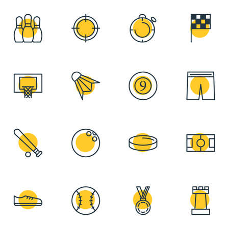 Vector illustration of 16 fitness icons line style. Editable set of flag, batting, hockey and other icon elements.