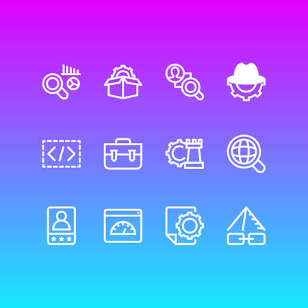 Vector illustration of 12 advertisement icons line style. Editable set of customer testimonials, game developing, portfolio and other icon elements.