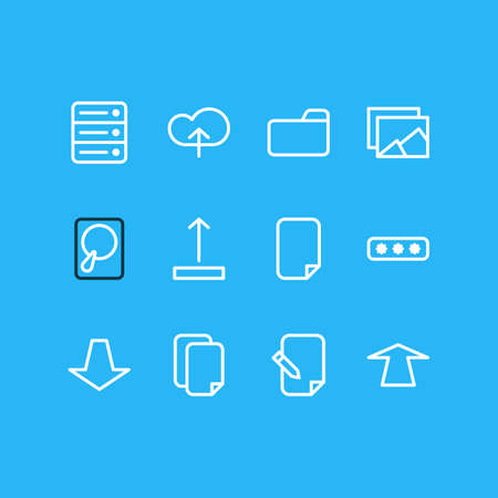 Vector illustration of 12 storage icons line style. Editable set of password, push, album and other icon elements. Illustration