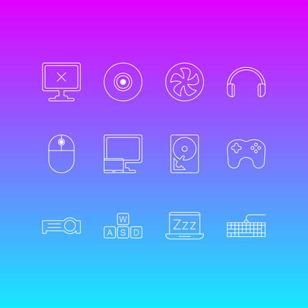 Vector illustration of 12 notebook icons line style. Editable set of gaming keypad, desktop computer, sleep mode and other icon elements.