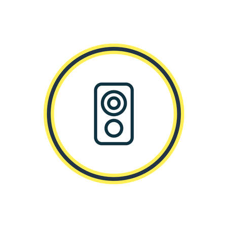 Vector illustration of loudspeaker icon line. Beautiful music element also can be used as amplifier icon element.