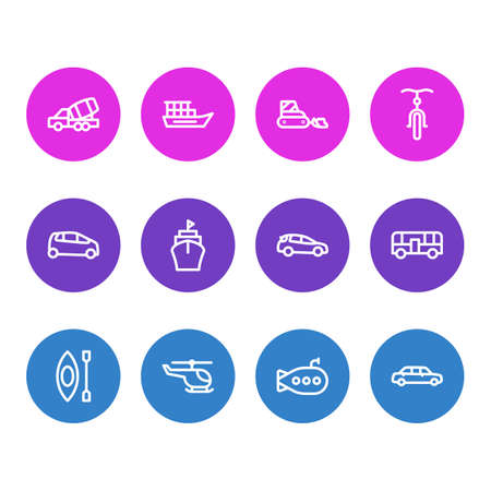 Vector illustration of 12 transport icons line style. Editable set of construction car, submarine, bicycle and other icon elements.