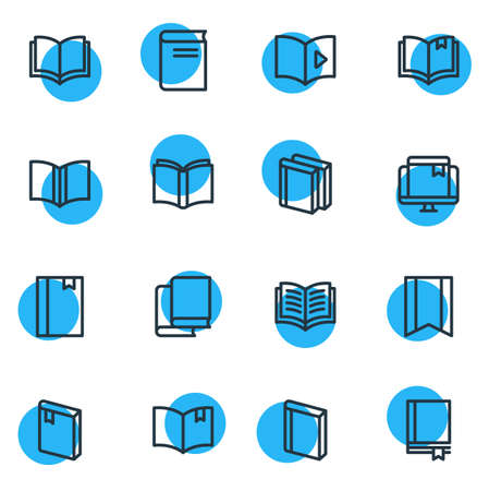 illustration of 16 book icons line style. Editable set of learn, bookstore, study and other icon elements. Stock Photo