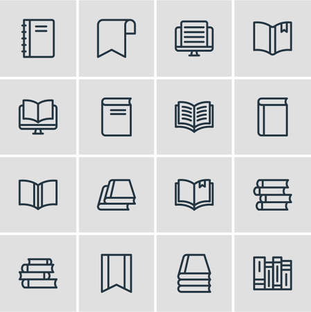 illustration of 16 book reading icons line style. Editable set of lecture, education, publish and other icon elements.