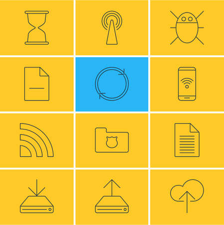 Vector illustration of 12 web icons line style. Editable set of protected folder, antenna, bug and other icon elements. Иллюстрация