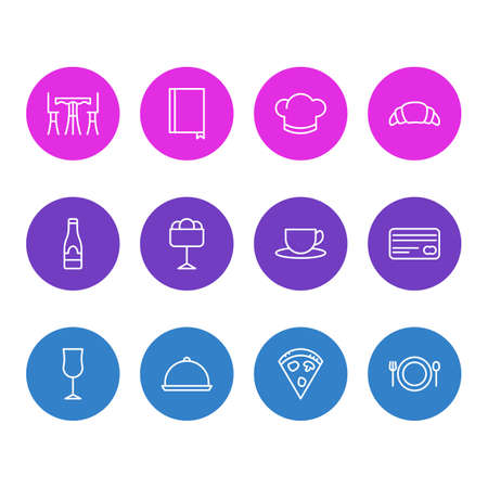 Vector illustration of 12 cafe icons line style. Editable set of pizza, menu, dish and other icon elements. 版權商用圖片 - 111940898
