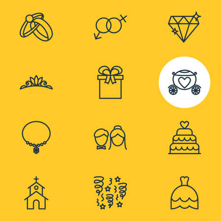 illustration of 12 marriage icons line style. Editable set of diamond, firework, necklace and other icon elements.