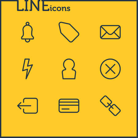 illustration of 9 app icons line style. Editable set of credit card, mail, close and other icon elements.