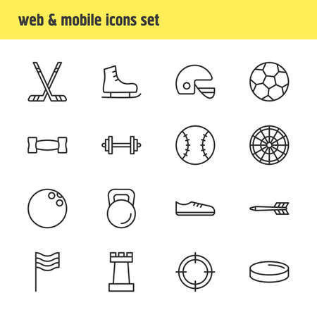 illustration of 16 sport icons line style. Editable set of chess figure, barbell, racer hat and other icon elements.