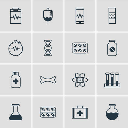 Vector illustration of 16 medicine icons line style. Editable set of diagnosing, plaster, dna and other icon elements.