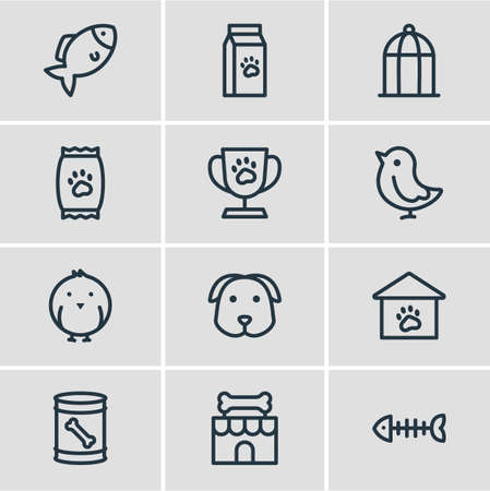 Vector illustration of 12 animal icons line style. Editable set of bird, pet shop, birdcage and other icon elements.