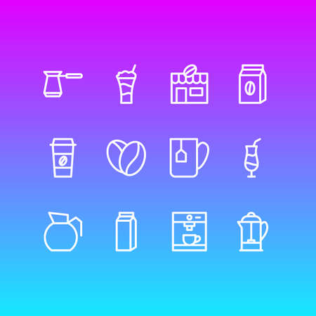 illustration of 12 coffee icons line style. Editable set of cocktail, plastic cup, cezve and other icon elements.