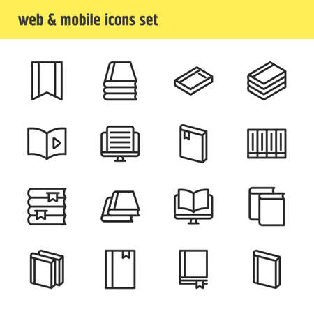illustration of 16 book reading icons line style. Editable set of magazine, dictionary, document and other icon elements.