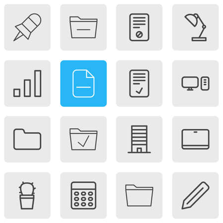 Vector illustration of 16 bureau icons line style. Editable set of pin, directory, calculator and other icon elements. Ilustração