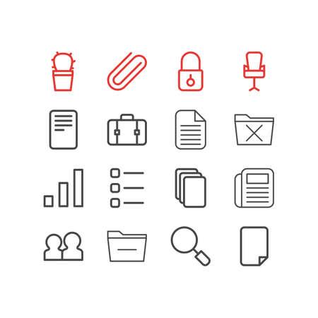 illustration of 16 bureau icons line style. Editable set of minus, cactus, suitcase and other icon elements.